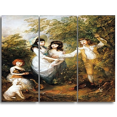 Designart Thomas Gainsborouh, The Marsham Children Canvas Art Print, 3 Panels, (PT4951-3P)