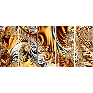 Designart – Impression sur toile, rubans or et argent, 5 panneaux, art abstrait (PT3014-401)