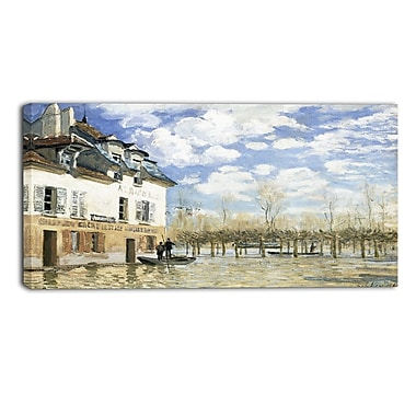 Designart Alfred Sisley, Boat in the Flood at Port Marly 3 Piece Canvas Art Print, (PT4127-40-20)