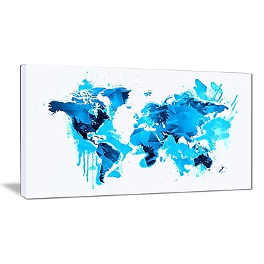 Designart Blue Ice Map Canvas Art Print, (PT2717-32-16)