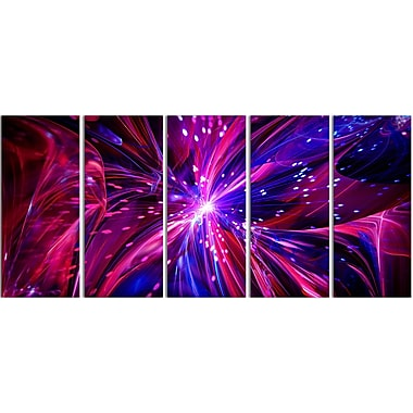 Designart Pink and Purple Dreams Come True 5-Panel Contemporary Canvas Art Print, (PT3068-401)