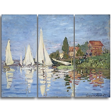Designart Claude Monet, Regattas at Argenteuil Canvas Art Print, (PT4231-3P)