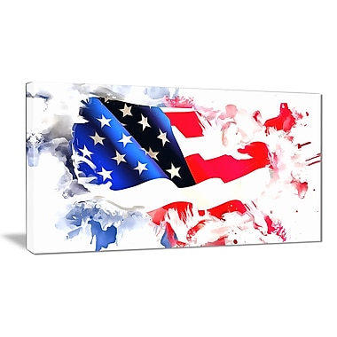 Designart Colours of America Map Canvas Art Print, (PT2826-40-20)