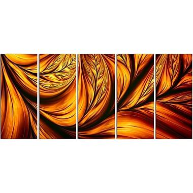 Designart – Impression abstraite sur toile, feuille dorée, 5 panneaux (PT3096-401)