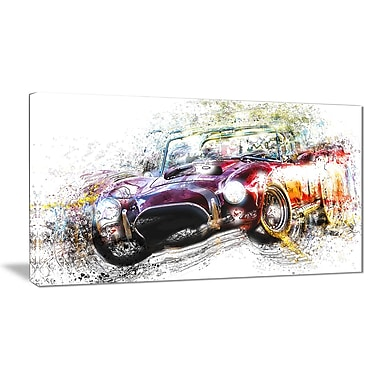 Designart Colourful Abstract Convertible Car Canvas Art Print, (PT2654-32-16)