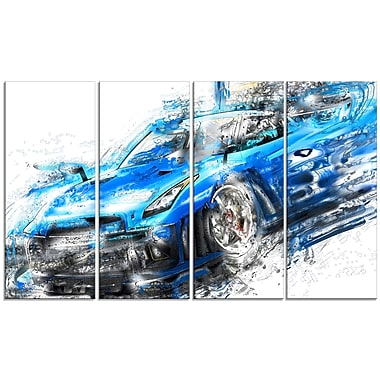 Designart Burning Rubber Blue Super Car Large Gallery Wrapped Canvas, (PT2608-271)