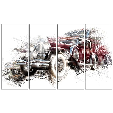 Designart American Hot Rod Car, 4 Piece Gallery-Wrapped Canvas, (PT2655-271)
