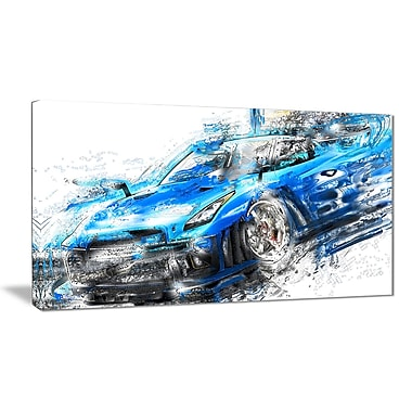 Designart Burning Rubber Blue Super Car Small Gallery Wrapped Canvas, (PT2608-32x16)