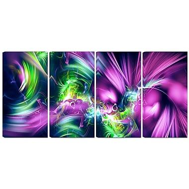 Design Art – Green and Purple Shine, contemporain, impression sur toile 4 panneaux