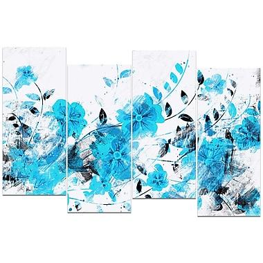 Designart Light Blue Flower Trail 4-Panel Canvas Art Print, (PT3409-4-271)