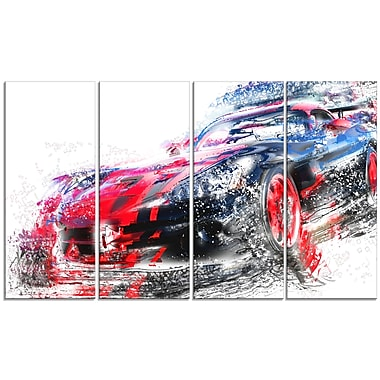 Designart Red and Black Sports Car, 4 Piece Gallery-Wrapped Canvas, (PT2638-271)