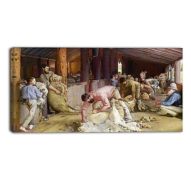 Designart Tom Roberts, Shearing the Rams Canvas Art Print, (PT4973-32-16)