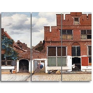 Designart – Imprimé sur toile, Vue de Delft, Johannes Vermeer, 3 panneaux (PT4629-3P)