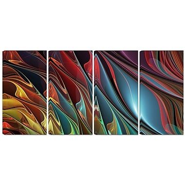 Designart Leaves of Colour 4-Panel Modern Canvas Art Print, (PT3081-271)