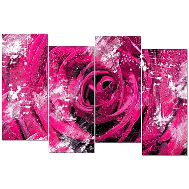 Designart Center of the Pink Rose 4-Panel Canvas Art Print, (PT3427-2-271)