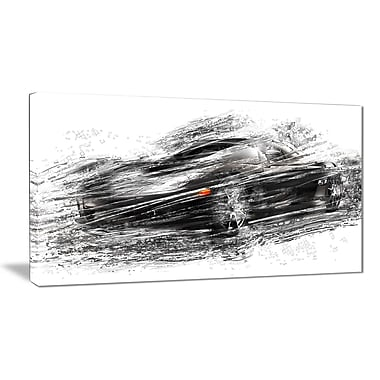 Designart Black Sports Car Small Gallery Wrapped Canvas, (PT2621-32x16)