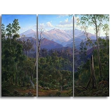 Designart Eugene von Guerard, Mount Kosciusko Landscape Canvas Art Print, (PT4368-3P)