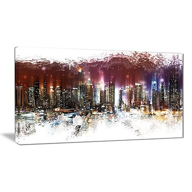 Designart Nightlife Cityscape Urban Canvas Artwork, (PT3317-32-16)