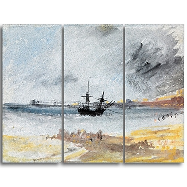 Designart JMW Turner, Ship Aground Brighton Canvas Art Print, (PT4606-3P)