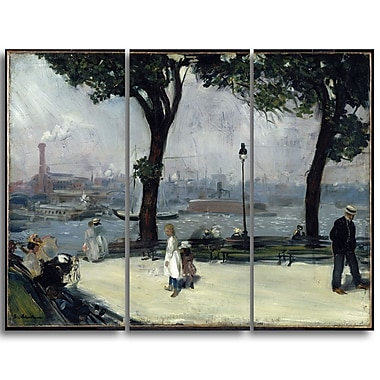Designart William Glacken, East River Park Canvas Art Print, (PT5010-3P)