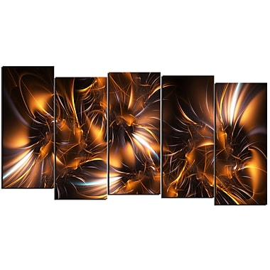 Designart Silver and Gold Stars 5-Panel Modern Canvas Art Print, (PT3039-1084)