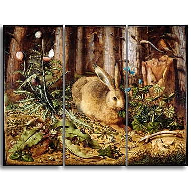 Designart Hans Hoffmann, German, A Hare in the Forest Lansdcape Canvas Artwork, (PT4473-3P)