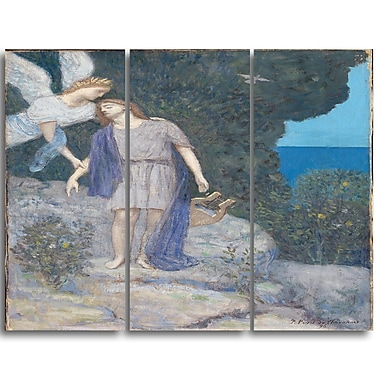 Designart Pierre C. Puvis de Chavannes, The Poet Canvas Art Print, 3 Panels, (PT4848-3P)