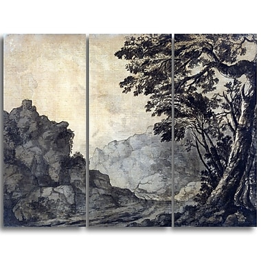Designart Alexander Cozens, A Road in a Mountain Landscape Canvas Art Print, 3 Panels, (PT4122-3P)