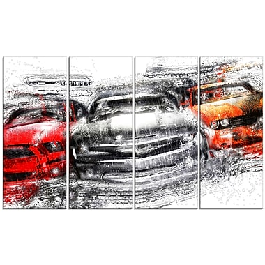 Designart American Street Race Large Gallery Wrapped Canvas, (PT2615-271)