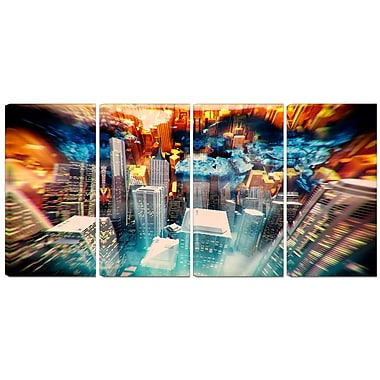 Designart Abstract City at Sunrise 4-Panel Contemporary Canvas Art Print, (PT3065-271)