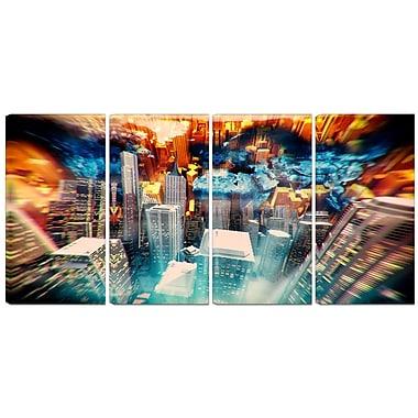 Designart – Imprimé contemporain sur toile, ville au lever du soleil abstrait, 4 panneaux (PT3065-271)