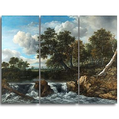 Designart – Jacob Isaacksz, paysage avec cascade, imprimé sur toile (PT4520-3P)