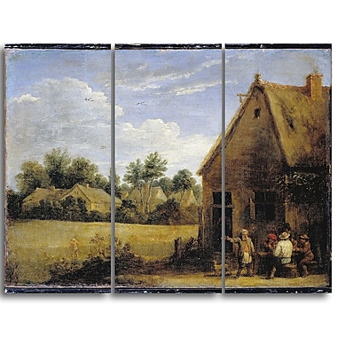 Designart David Teniers, Cottage with Peasants Playing Cards Canvas Art Print, (PT4931-3P)
