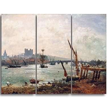 Designart – Frederick Nash, Cathédrale et château de Rochester, imprimé sur toile (PT4397-3P)