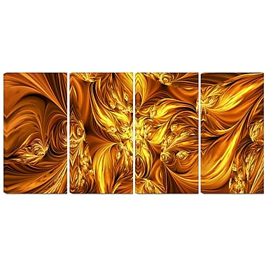 Designart Molten Gold Exchange 4-Panel Abstract Canvas Art Print, (PT3093-271)