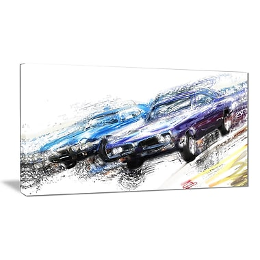 Designart Finish Line Canvas Art Print, (PT2647-32-16)