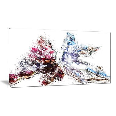 Designart Football Interception Canvas Art Print, (PT2579-32-16)