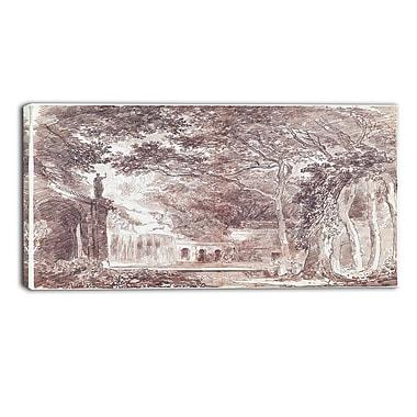 Designart – Hubert Robert, la fontaine ovale dans le jardins, illustration de paysage (PT4507-32-16)