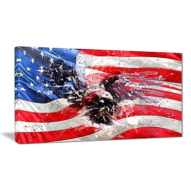 Designart American Eagle and Flag Large Americana Canvas Art Print, (PT2807-32-16)