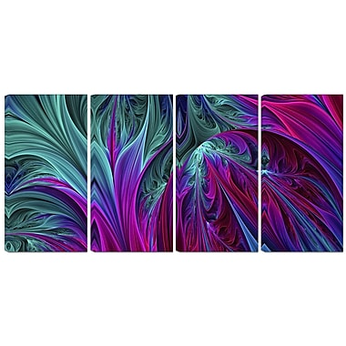 Designart Purple and Green Jungle 4-Panel Modern Canvas Art Print, (PT3085-271)