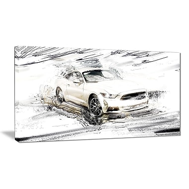 Designart Super Charged White Muscle Car Gallery-Wrapped Canvas, (PT2629-32-16)