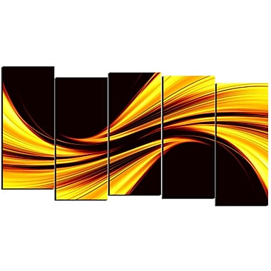 Designart Mellow Yellow Harmony 5-Panel Abstract Canvas Art Print, (PT3019-1084)
