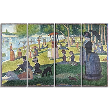 Designart Georges Seurat, A Sunday on La Grande Jatte Landscape Canvas Wall Art, (PT4427-271)