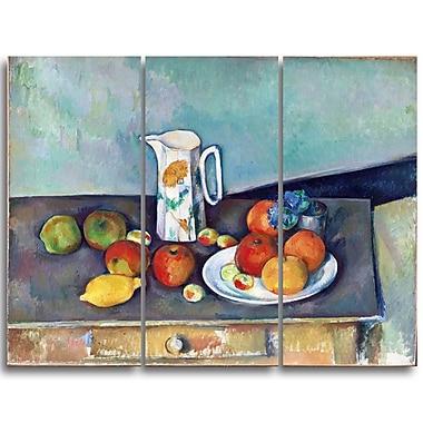 Designart – Paul Cezanne, Nature morte, imprimé sur toile, 3 panneaux (PT4769-3P)