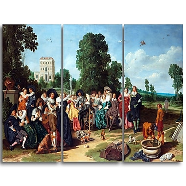 Designart Dirck Hals, The Outdoor Party Landscape Canvas Art Print, (PT4299-3P)