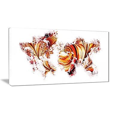 Designart Red and Orange Map Canvas Art Print, (PT2736-32-16)