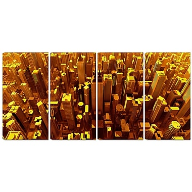 Designart Golden City from the Sky 4-Panel Modern Canvas Art Print, (PT3077-271)