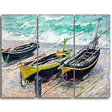 Designart Claude Monet, Three Fishing Boats Canvas Art Print, (PT4242-3P)