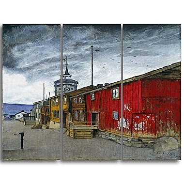 Designart Harald Sohlberg, Street in Roros Canvas Art Print, 3 Panels, (PT4483-3P)