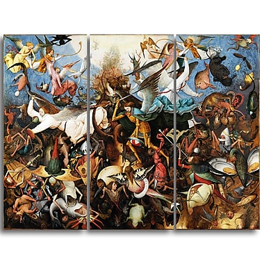 Designart Pieter Bruegel, The Fal of the Rebel Angels Canvas Art Print, (PT4859-3P)